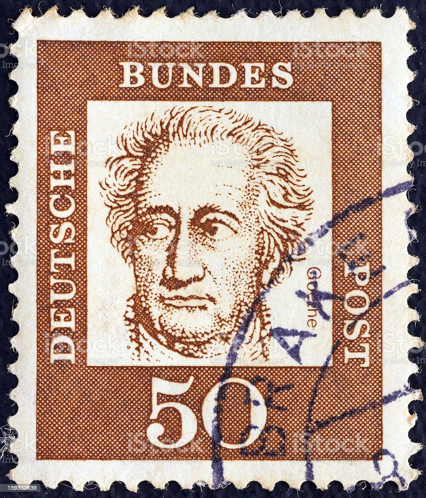 German stamp shows writer Johann Wolfgang von Goethe (1961) stock photo