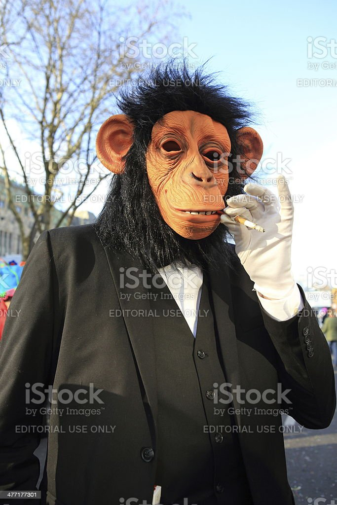 German street carnival ape costume stock photo