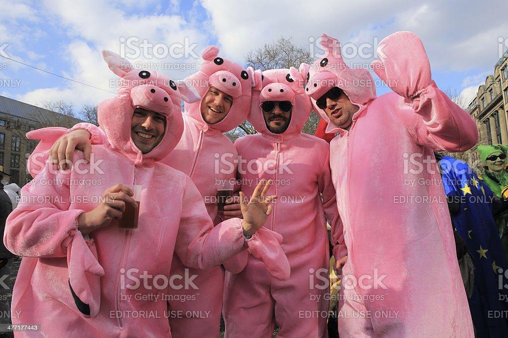 German street carnival plush pig costumes stock photo