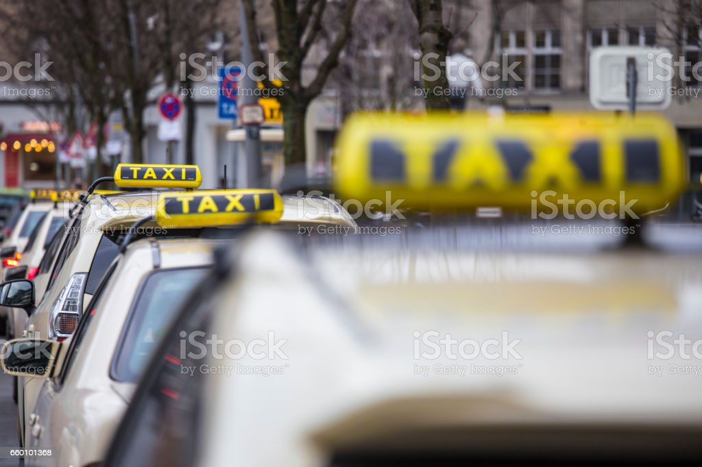 german taxi signs stock photo