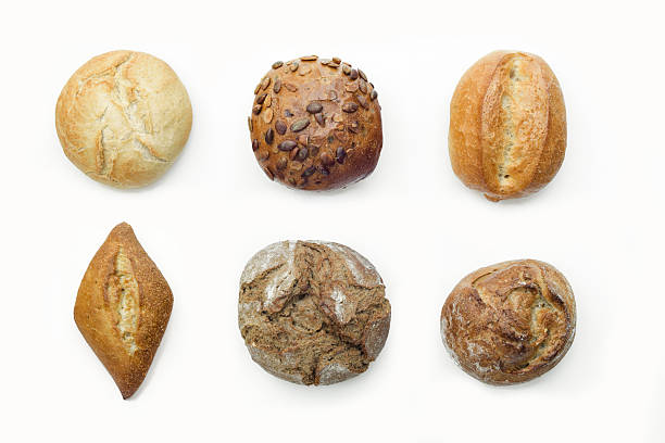 German traditional breads on white isolated background stock photo