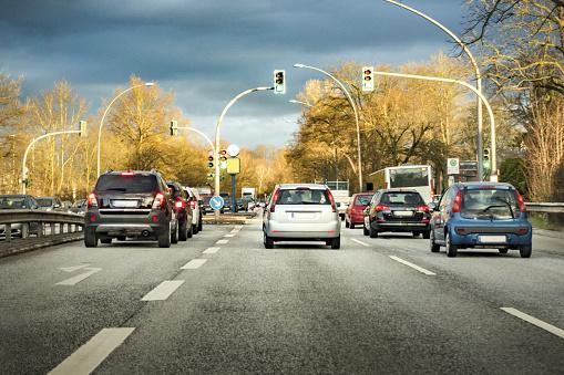 German traffic on a sunny morning