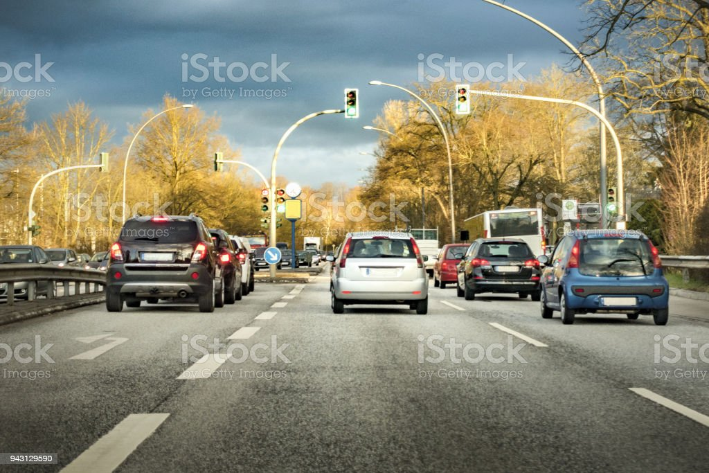 German traffic on a sunny morning stock photo