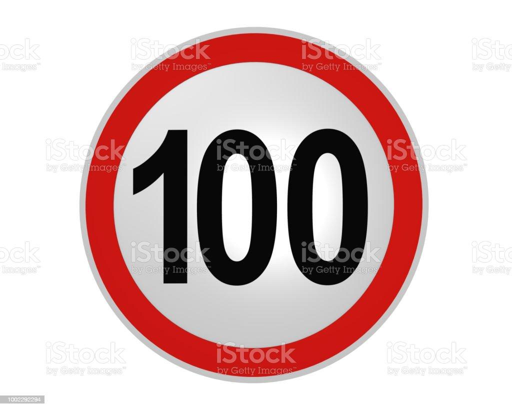 Deutsches Verkehrszeichen: Geschwindigkeitsbegrenzung 100 km/h, Vorderansicht – Foto