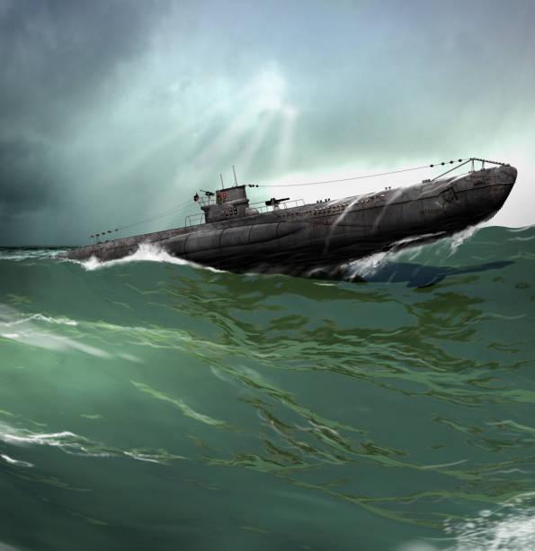 u-boat alemanes en el atlántico norte - submarino fotografías e imágenes de stock