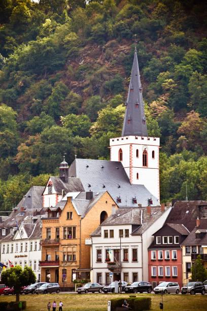 German Village along Rhine River stock photo