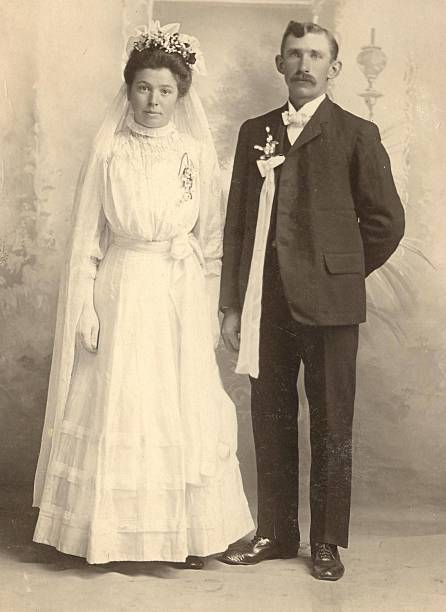German Wedding A 1902 wedding photo of a lovely couple from Germany. 19th century stock pictures, royalty-free photos & images