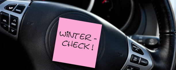 German Winter Check car dashboard background with label stock photo