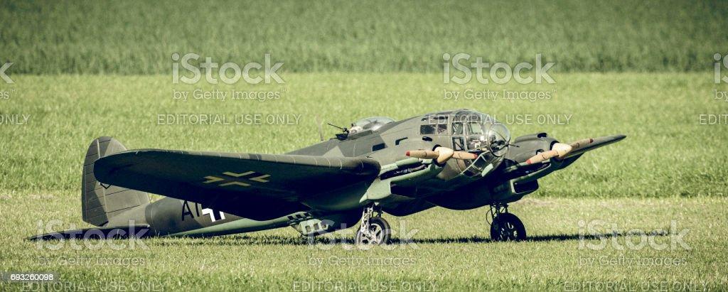 German World War 2 model airplane used in Dunkirk movie stock photo