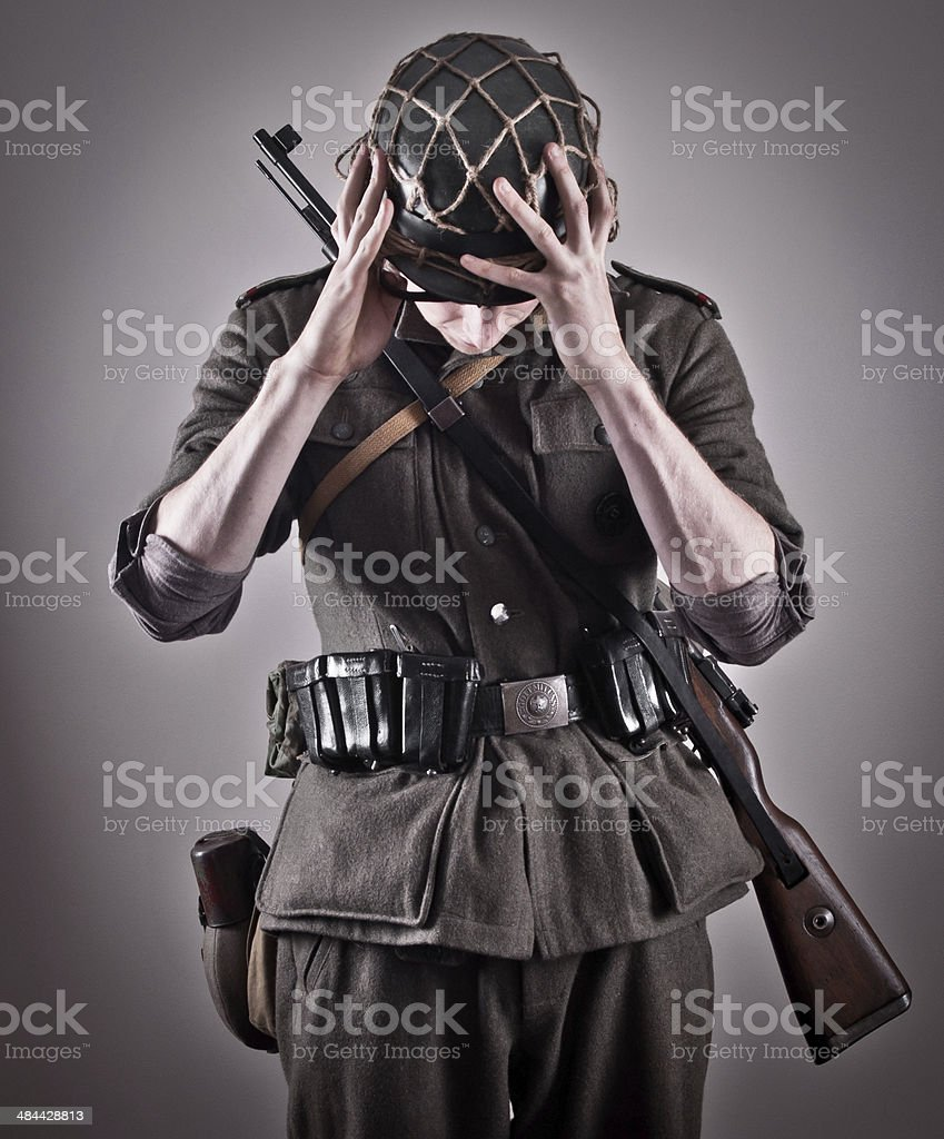 German WW2 soldier sign of respect stock photo