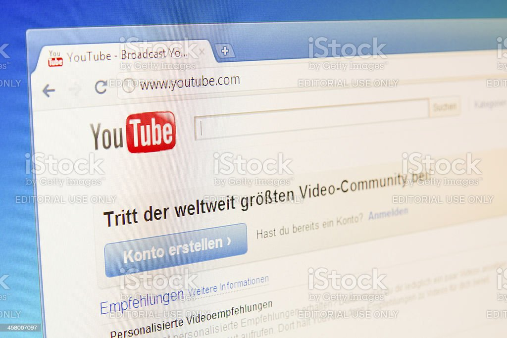German YouTube Website royalty-free stock photo