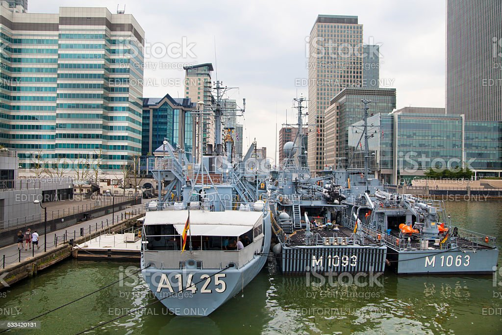 German's military ships in Canary Wharf bay, London stock photo