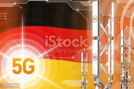 istock Germany 5G industrial illustration, huge cellular network mast or tower on digital background with the flag - 3D Illustration 1131520653
