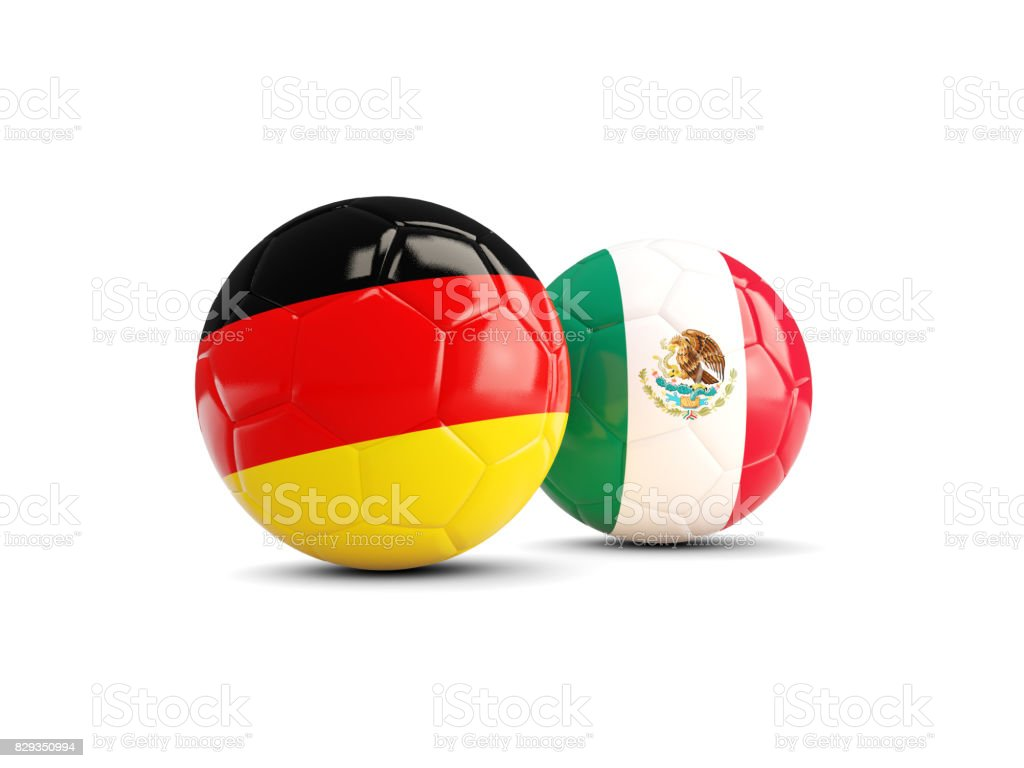 Germany and Mexico soccer balls isolated on white background stock photo