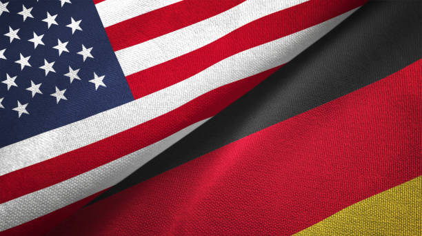 Germany and United States two flags together realations textile cloth fabric texture Germany and United States flags together realtions textile cloth fabric texture german culture stock pictures, royalty-free photos & images