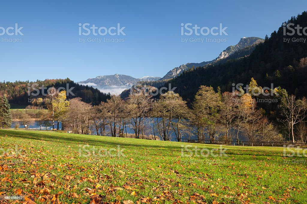 Germany, Bavaria, Bad Reichenhall, Thumsee lake in autumn – Foto