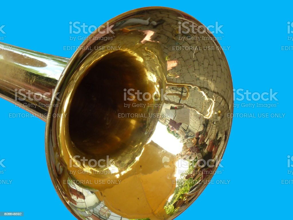 Germany Bavaria. Customs, tradition and lifestyle. Brass band instrument trumpet. stock photo