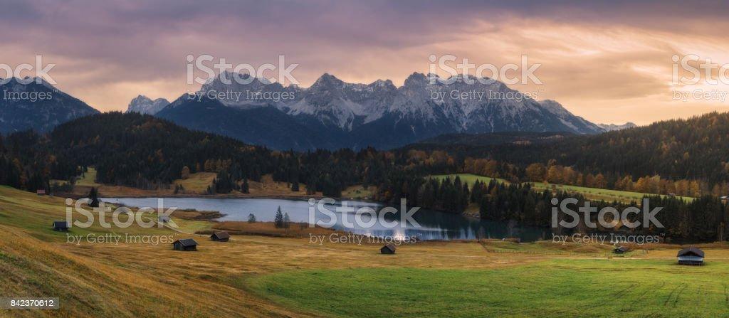 Germany. Bavaria. Overcast morning on lake Geroldsee, views of mount Karwendel stock photo