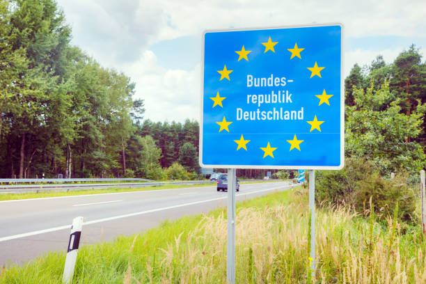 Germany border road sign stock photo