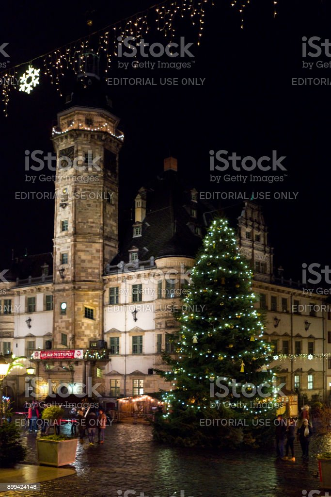 Germany: Christmas tree in front of the town hall of an old historical city in Eastern Thuringia stock photo