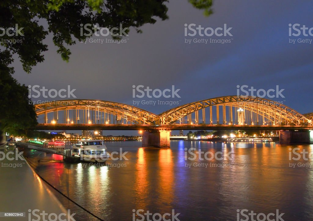 Germany cologne bridge river stock photo