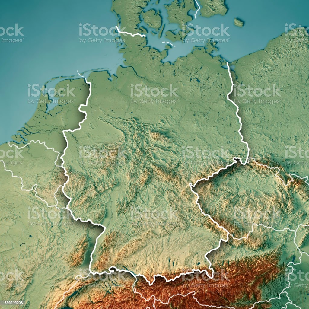 Germany Country 3d Render Topographic Map Border Stock Photo