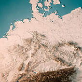 germany country 3d render topographic map neutral