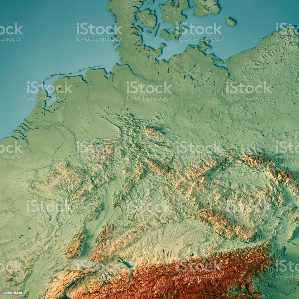 Germany Country 3d Render Topographic Map Stock Photo & More ...