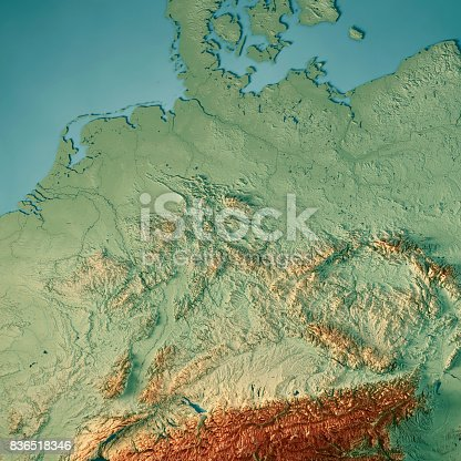 Germany Country 3d Render Topographic Map Stock Photo More