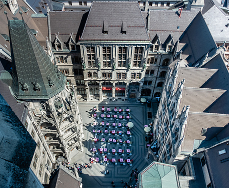 MUNICH, Germany - Courtyard of the New Town Hall (Neues Rathaus) from the Top