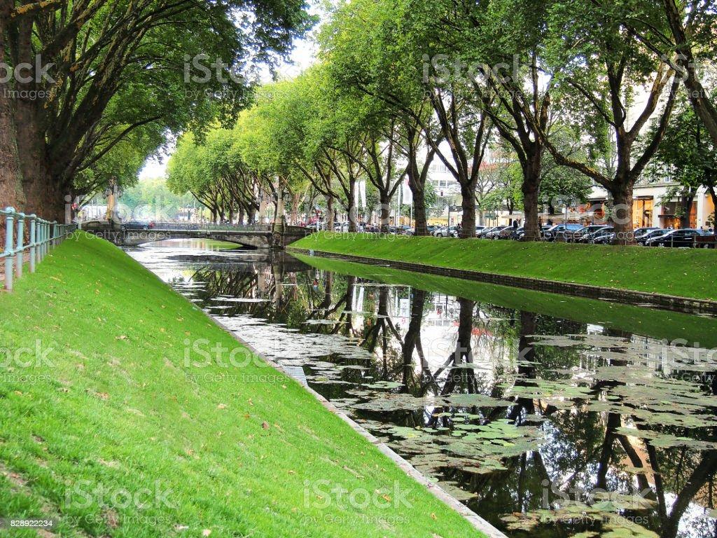 Germany dusseldorf canal stock photo