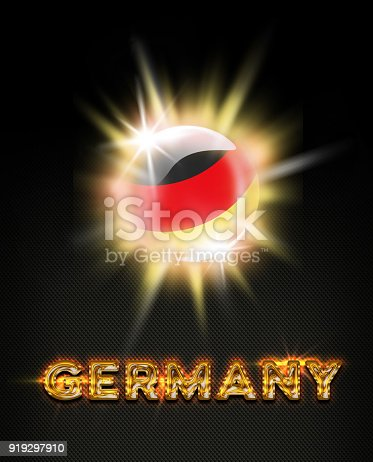 istock Germany exploding button with german flag and name 919297910