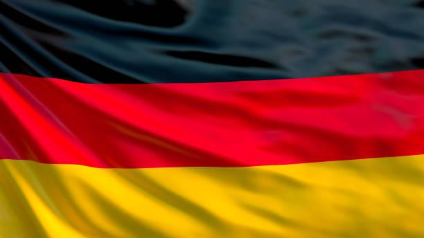 deutschland-flagge. wehende flagge von deutschland 3d illustration - stoffe berlin stock-fotos und bilder