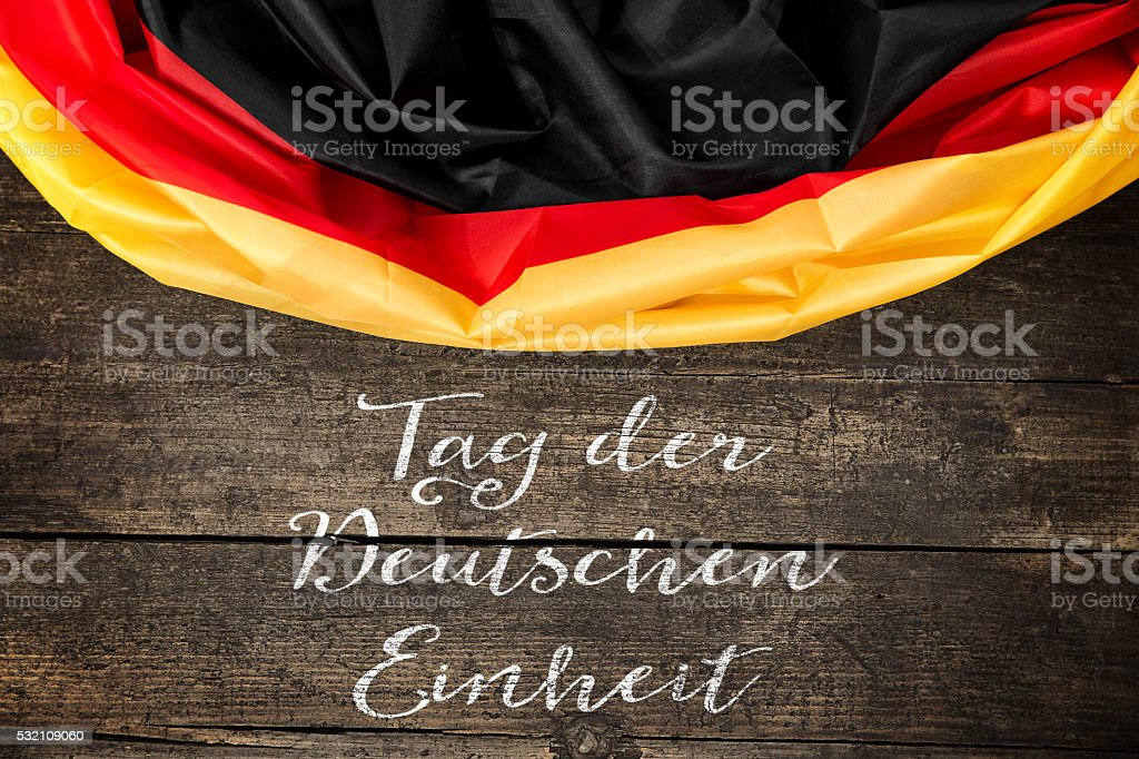 Germany Flag with germany Text for the german unity day stock photo