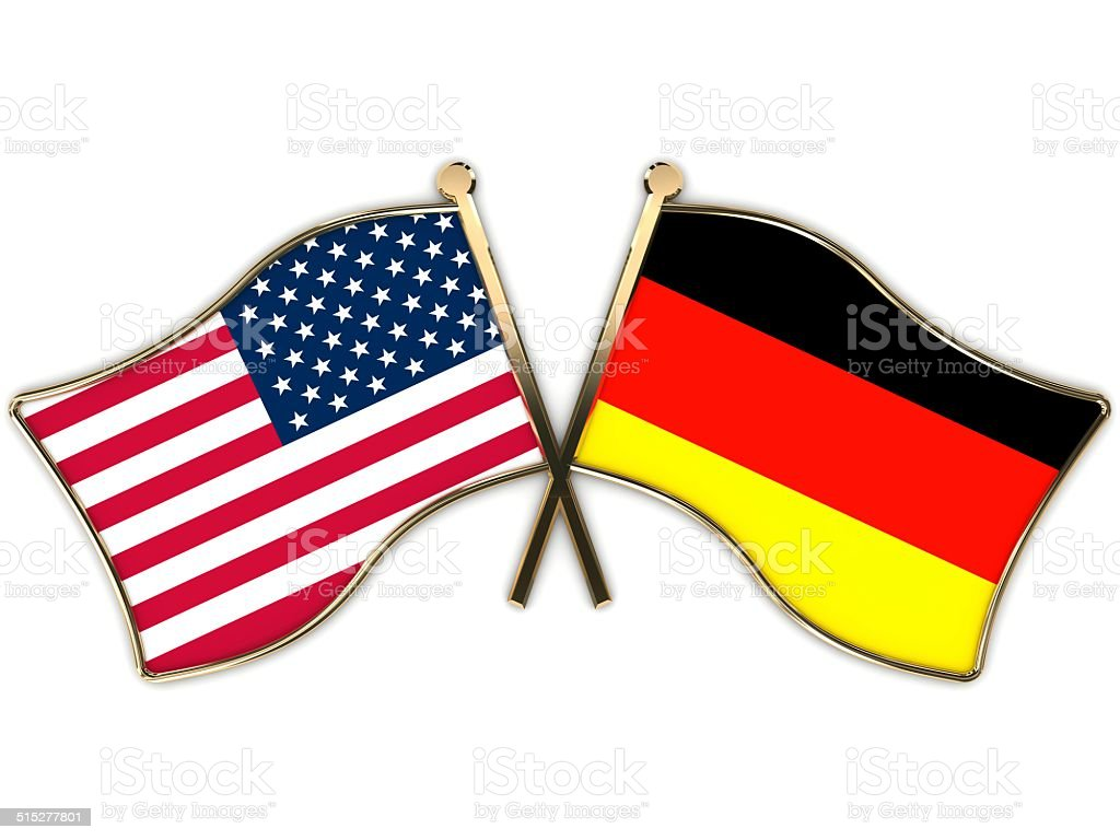 USA Germany Flags Badge stock photo