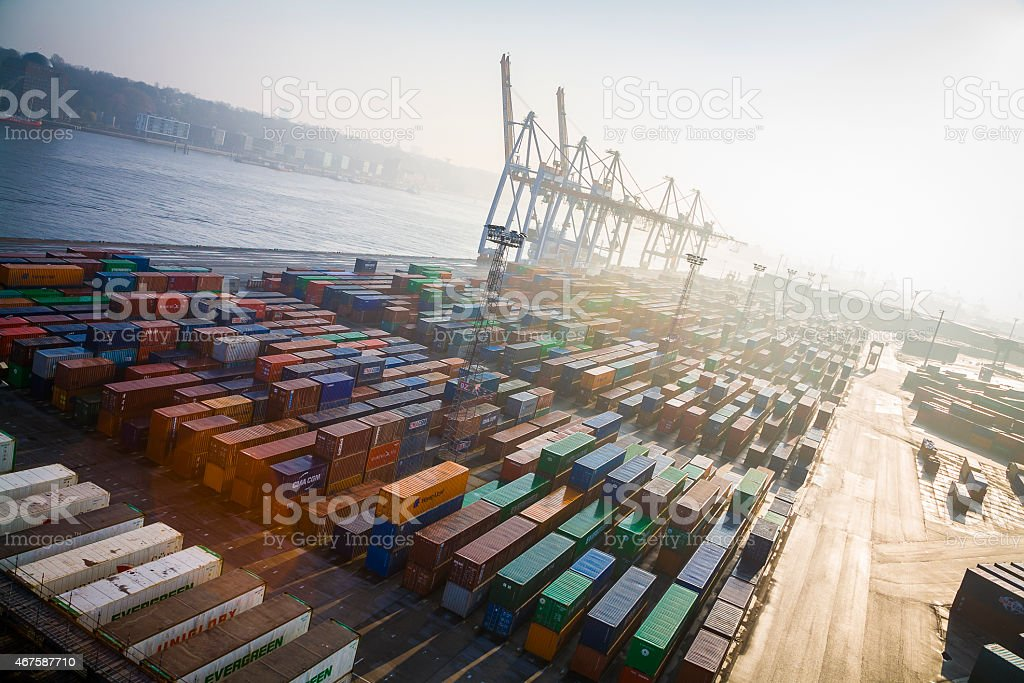 Germany, Hamburg, Container harbour stock photo