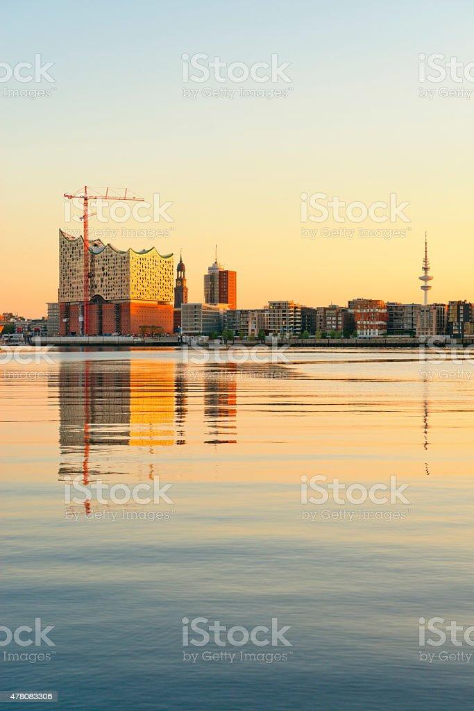 Germany, Hamburg, Hafencity, Landmark St. Michel, TV tower and Elbphilharmony stock photo