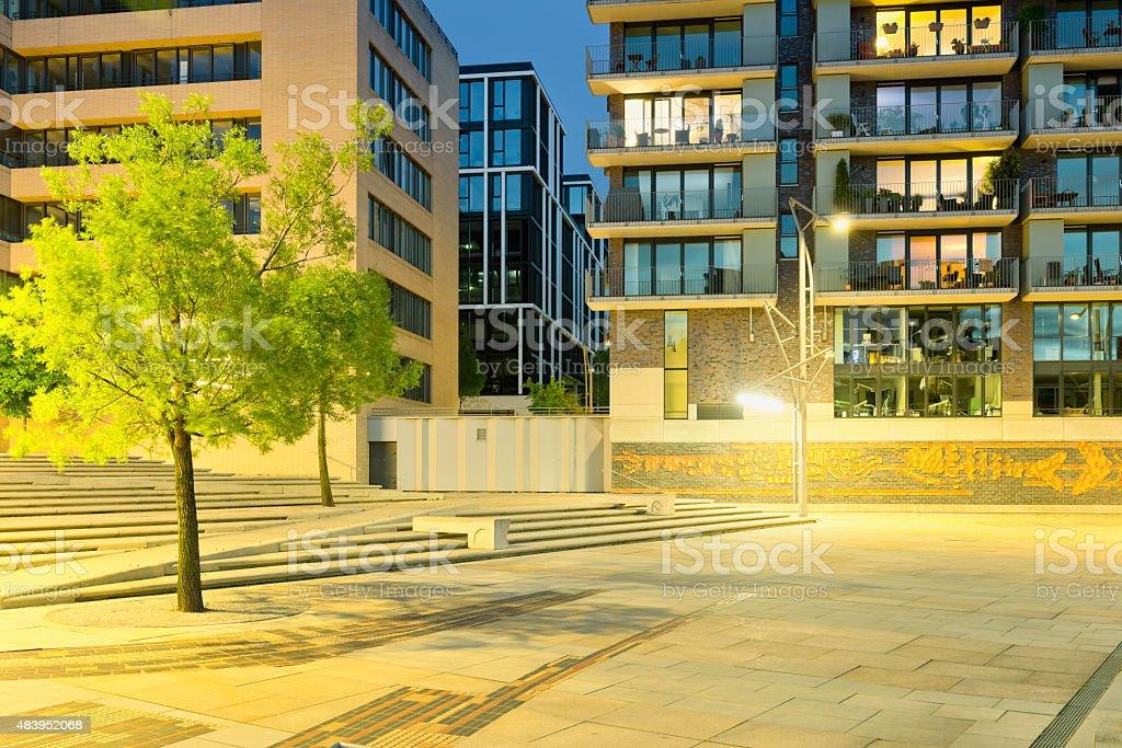 Germany, Hamburg, Hafencity, modern architecture in the evening stock photo