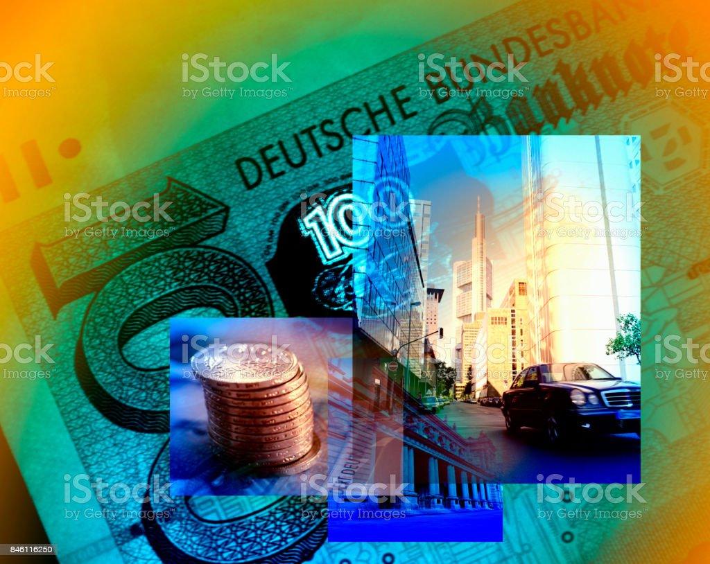 Germany, Hesse, Frankfurt am Main and Deutschemarks. stock photo