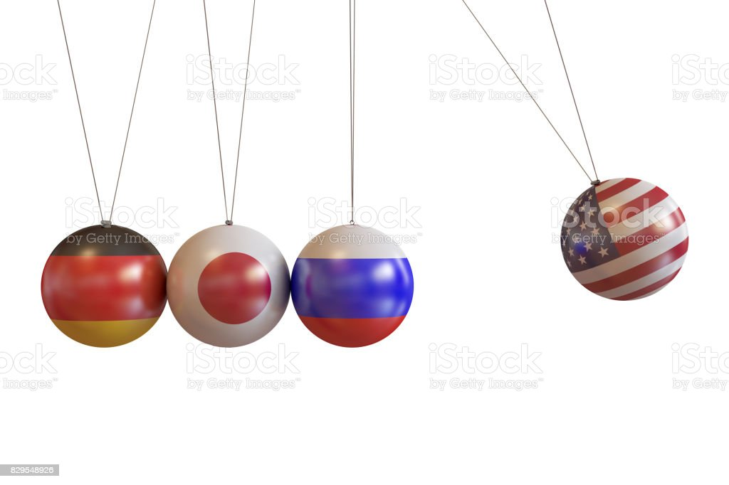 Germany, Japan, Russia, Usa Countries Pendulum stock photo