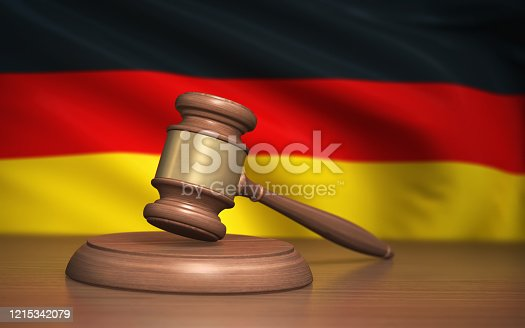 3d Render Judge Gavel and Germany flag on background (Depth Of Field)