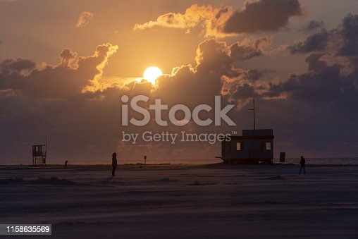 istock Germany, Lower Saxony, East Frisia, Juist, sunset on the beach. 1158635569