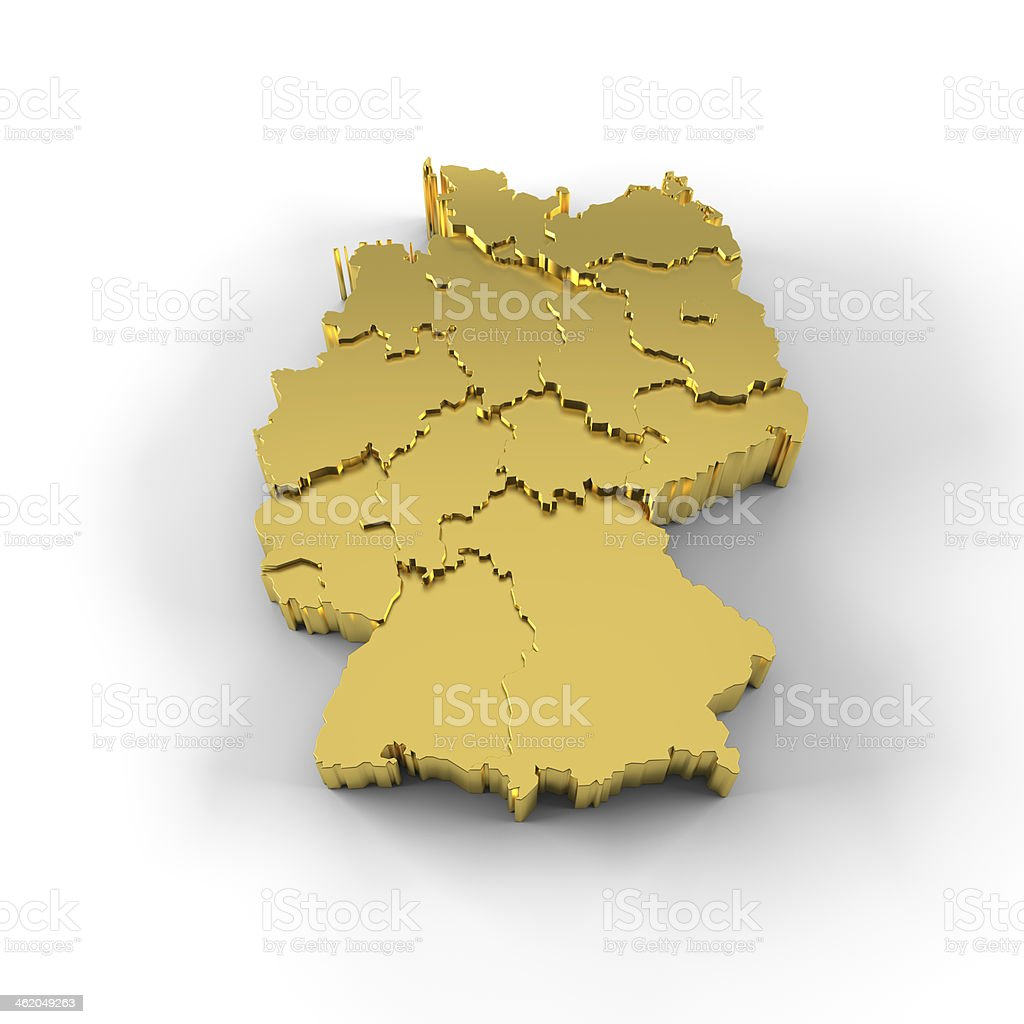Germany Map With Cities And States.Germany Map 3d Gold With States Stepwise And Clipping Path Stock