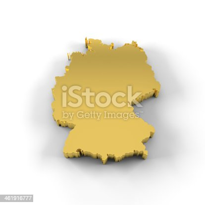 istock Germany map 3D in gold with clipping path 461916777