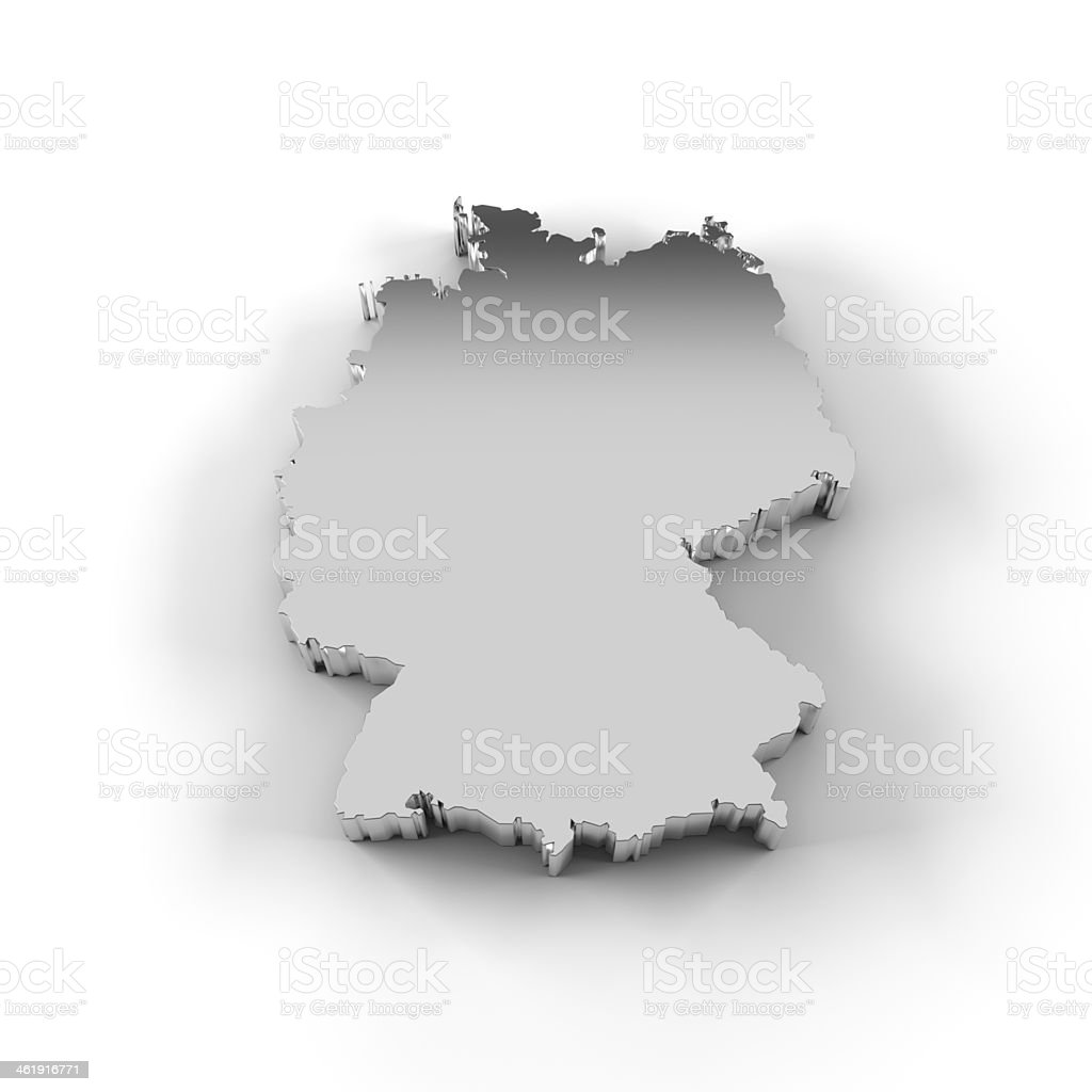 Germany map 3D in silver with clipping path royalty-free stock photo