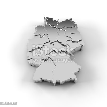 istock Germany map 3D silver with states stepwise and clipping path 462102921