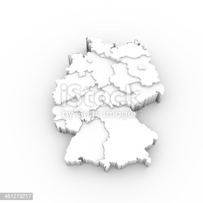 istock Germany map 3D white with states stepwise and clipping path 451273217
