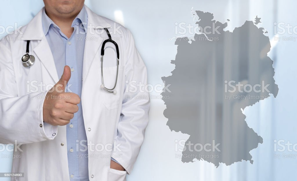 Germany map concept and doctor with thumbs up stock photo