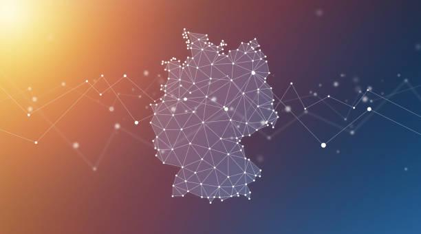 niemcy mapa geometryczna sieć wielokąt tło graficzne - niemcy zdjęcia i obrazy z banku zdjęć