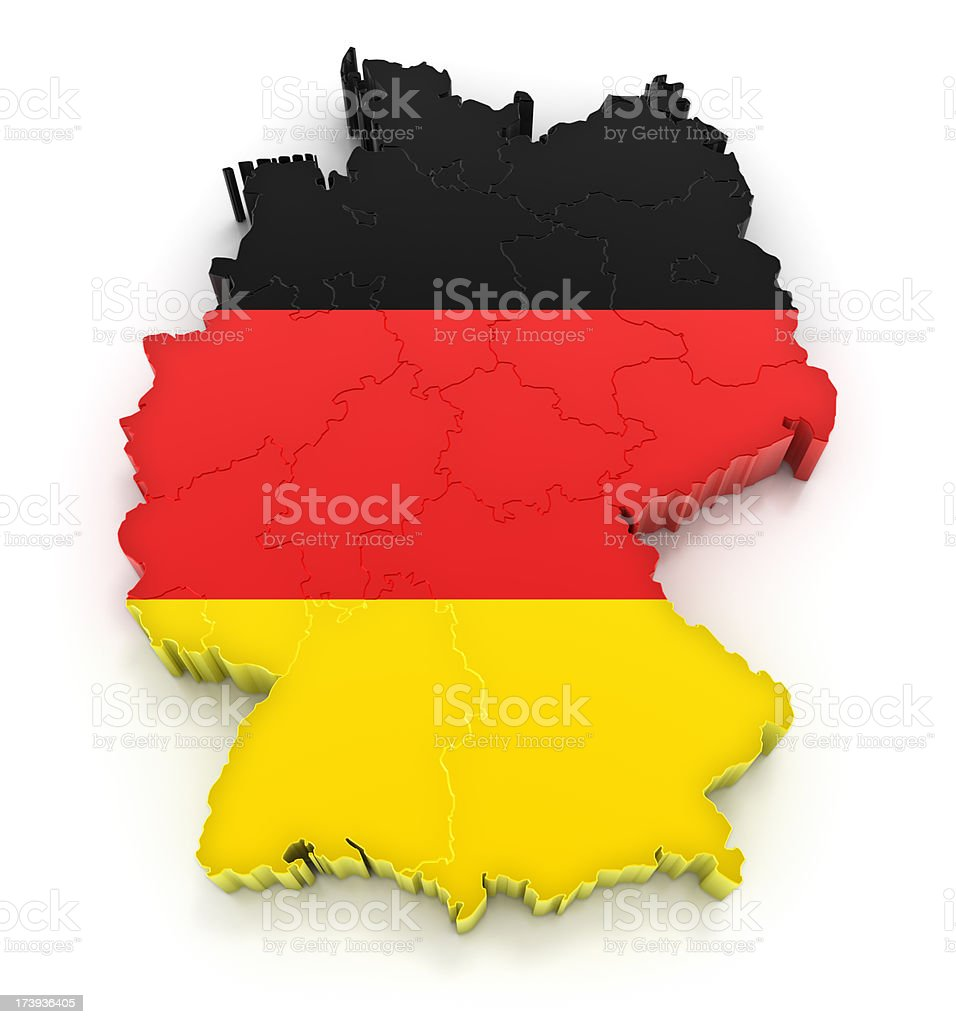 Germany map with flag royalty-free stock photo